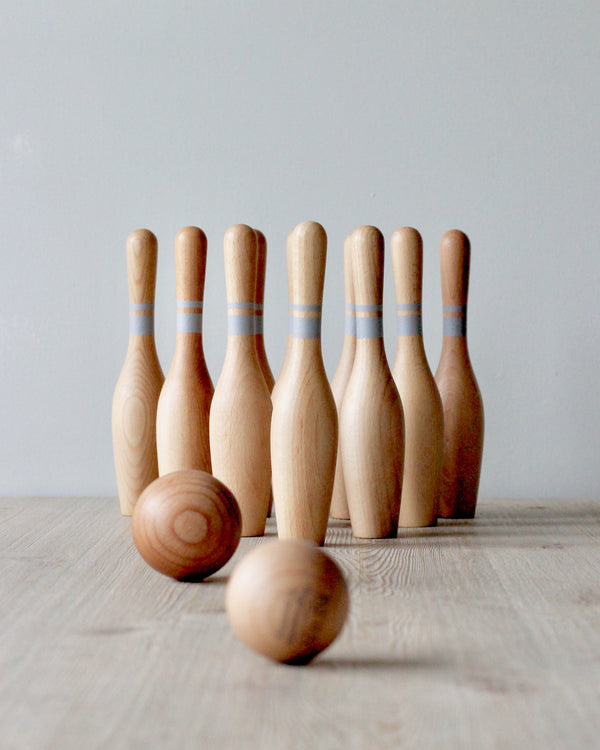 Natural Wooden Bowling Set