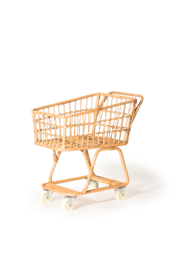 Kids Rattan Shopping Cart