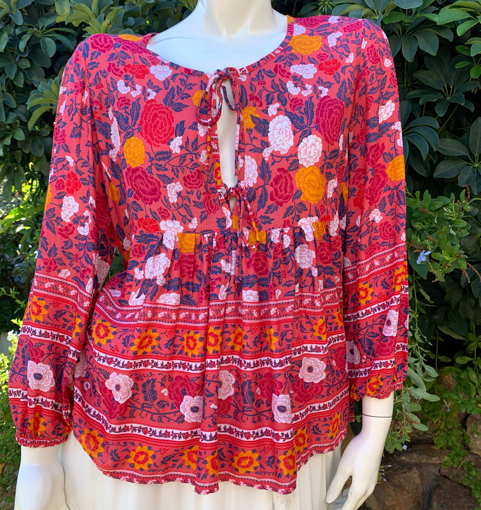 Karma Blouse - Red Blossom