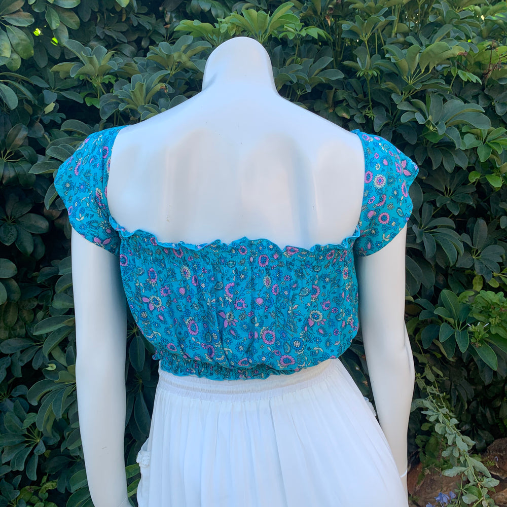 Butterfly Crop Top - Aquamarine - Last One