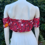 Butterfly Crop Top - Red Blossom