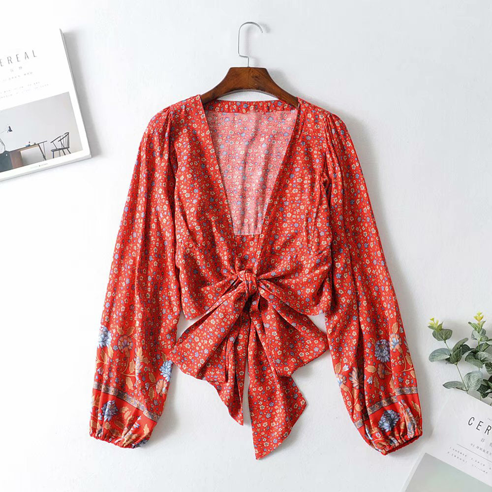 Rio - Tie Front Long Sleeved Blouse