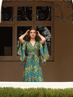 Karma - Kimono style wrap dress in green, red or leopard print