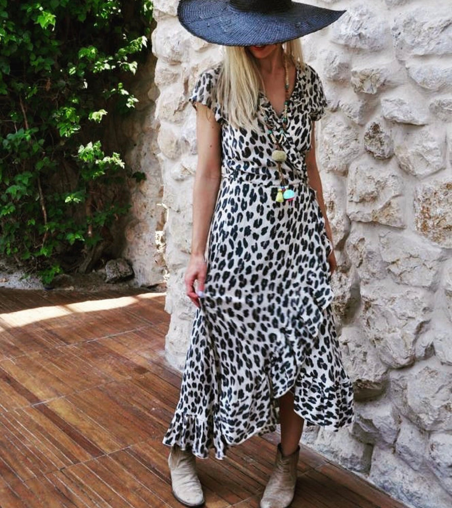 Karma - long wrap dress in wild