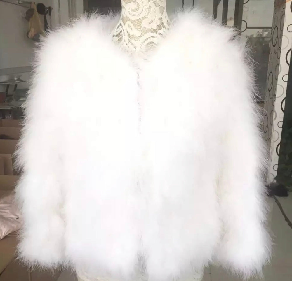 Fifi - Feather Jacket in White