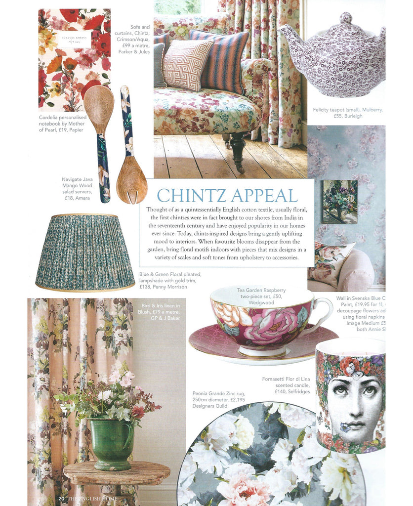 Penny Morrison Silk Lampshade featured in The English Home Chintz Appeal Edit