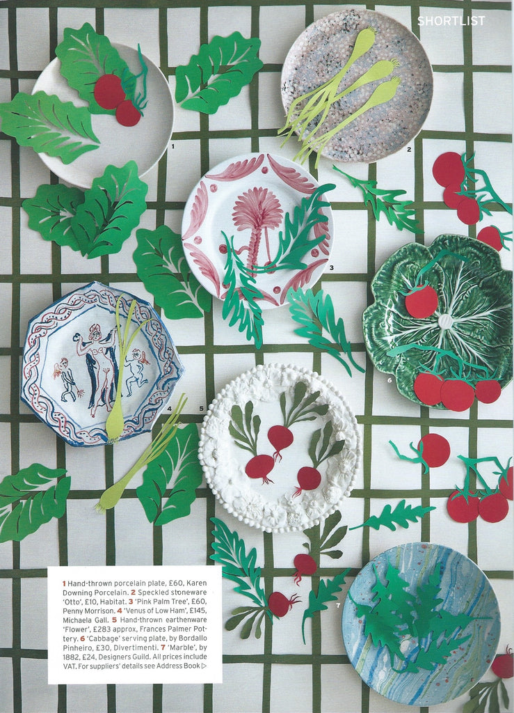 Penny Morrison Press Feature World of Interiors | Pink Palm Tree Large Plate