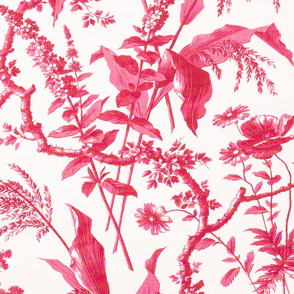 Fabrics Aspa Raspberry Penny Morrison COLOUR_PINK, COLOUR_RED, DESIGNER_SARAH VANRENEN, leaf, NATURAL, NATURE, PATTERN_FLORAL, PLANTS, TRADITIONAL