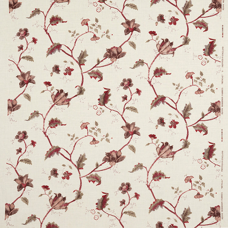 Fabrics Bengal Garnet Penny Morrison COLOUR_BROWN, COLOUR_RED, DESIGNER_PENNY MORRISON, detail, flower, intricate, leaf, MEDIEVAL, PATTERN_FLORAL, VINES