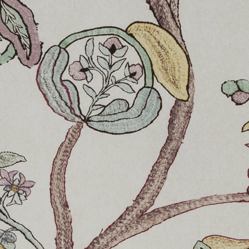 Wallpaper Begum Wallpaper Penny Morrison COLOUR_BROWN, COLOUR_PINK, FLORAL, LEAF, PATTERN_FLORAL, TREE, VINE, VINTAGE, WALLPAPER