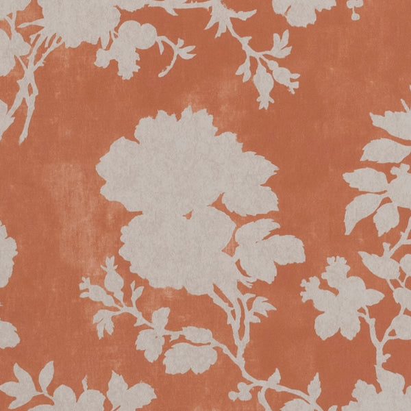 Wallpaper Flowerberry Orange Wallpaper Penny Morrison BEDROOM, COLOUR_ORANGE, DELICATE, FLORAL, LEAF, NATURE, PASTELS, PATTERN_FLORAL, PRETTY, SOFT ORANGE, TREE, VINE, VINTAGE, WALLPAPER