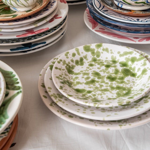 Tableware Green Speckled Ceramic Large Plate Penny Morrison ceramics, COLOUR_GREEN, crockery, dining, green, paint, PATTERN_SPECKLED, place setting, plate, pottery, sets, side plate, small, speckled, splatter, spots, Tableware, white