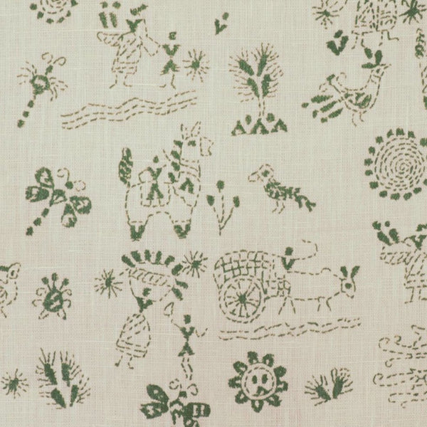 Fabrics Lucknow Green Penny Morrison COLOUR_GREEN, DESIGNER_PENNY MORRISON, DRAWINGS, ethnic, ILLUSTRATIVE, SKETCH