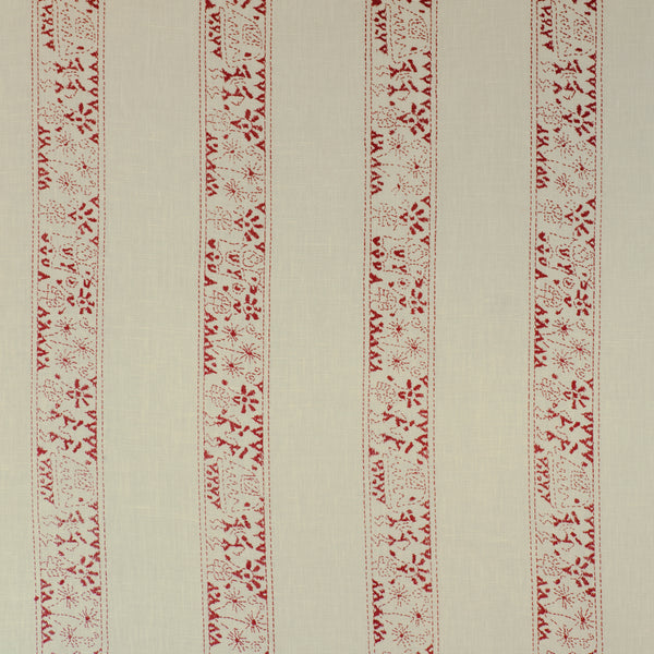 Fabrics Lucknow Stripe Red Penny Morrison COLOUR_BROWN, DESIGNER_PENNY MORRISON, detail, ETHNIC, intricate, PATTERN_STRIPES, VERTICAL
