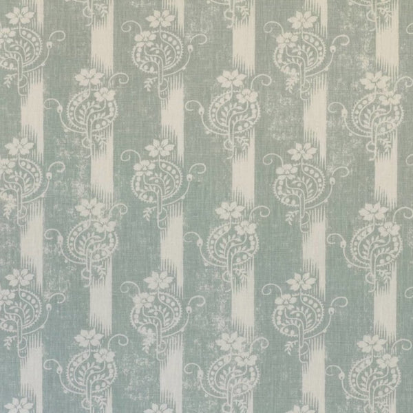 Fabrics Mallika Duck Egg Penny Morrison COLOUR_BLUE, COLOUR_GREEN, DESIGNER_PENNY MORRISON, ethnic, lines, PATTERN_FLORAL, RUSTIC, VERTICAL, VINTAGE, WORN
