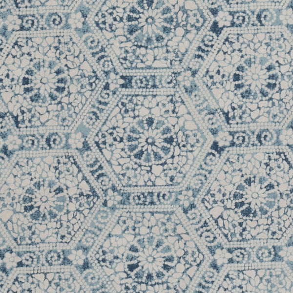 Wallpaper Nankeeng Blue Wallpaper Penny Morrison BLUE, COLOUR_BLUE, DETAILS, ETHNIC, HEXAGON, PATTERN_ABSTRACT, PATTERN_GEOMETRIC, RUSTIC, SHAPES, TESSELATE, VINTAGE, WALLPAPER, WORN