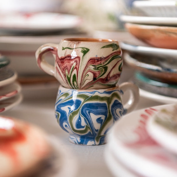 Tableware Green and Pink Marbled Ceramic Espresso Cup Penny Morrison blue, ceramics, coffee, COLOUR_GREEN, COLOUR_PINK, crockery, cup, dining, espresso, green, ink, marble, mug, PATTERN_MARBLED, place setting, pottery, sets, small, swirl, Tableware, tea, terracotta, TYPE_CUPS