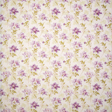 Fabrics Ella May Cotton Penny Morrison COLOUR_GREEN, COLOUR_PURPLE, DESIGNER_PENNY MORRISON, FLOWERS, leaf, NATURE, PATTERN_FLORAL, PRETTY, VINTAGE