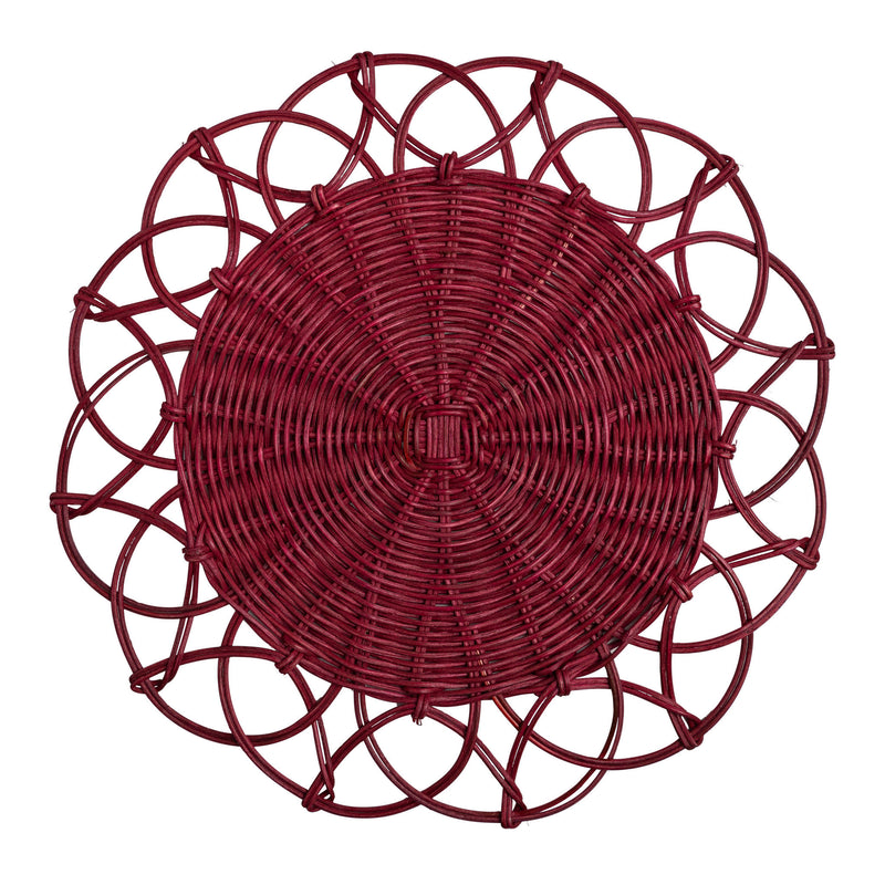 Tableware Red Wicker Table Mat Penny Morrison bohemian, COLOUR_RED, garden party, PLACE MAT, RUSTIC, TABLE LINEN, TABLE MAT, Tableware, WICKER, WOVEN