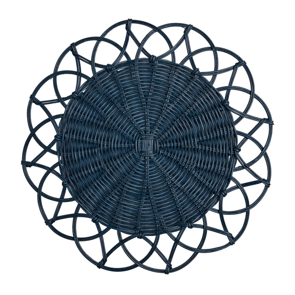 Tableware Blue Wicker Table Mat Penny Morrison BOHEMIAN, COLOUR_BLUE, NATURAL, PLACE MAT, RUSTIC, TABLE MAT, TABLE WARE, TYPE_TABLE MATS, WICKER, WOVEN