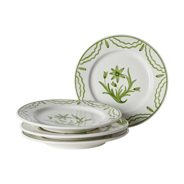 Green Summer Flower Ceramic Medium Plate