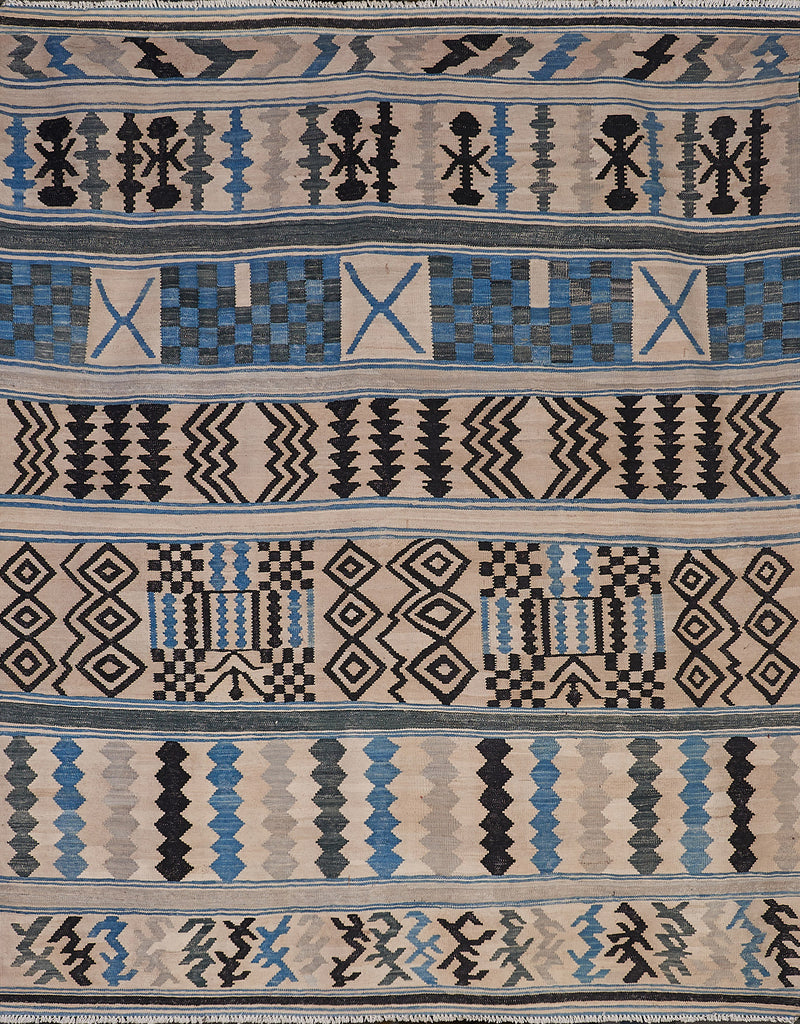 Blue Khaki Black Tribal Rug