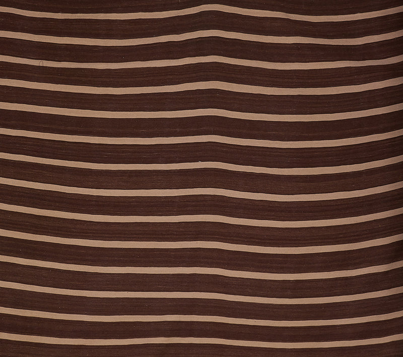 Brown and White Striped Rug