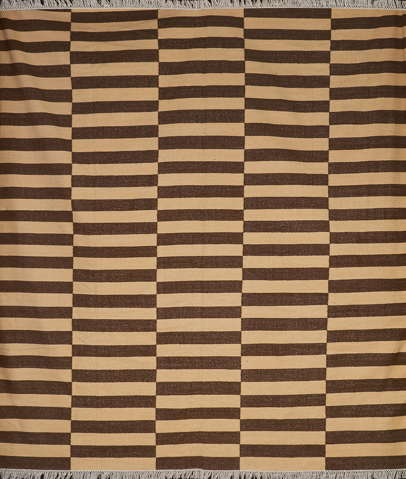 Brown and Yellow Rectangular Striped Rug