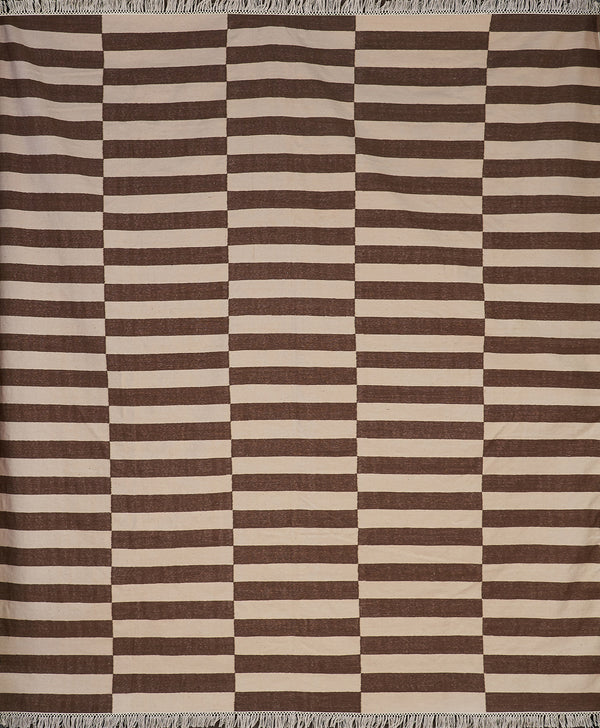 Brown and White Rectangular Striped Rug