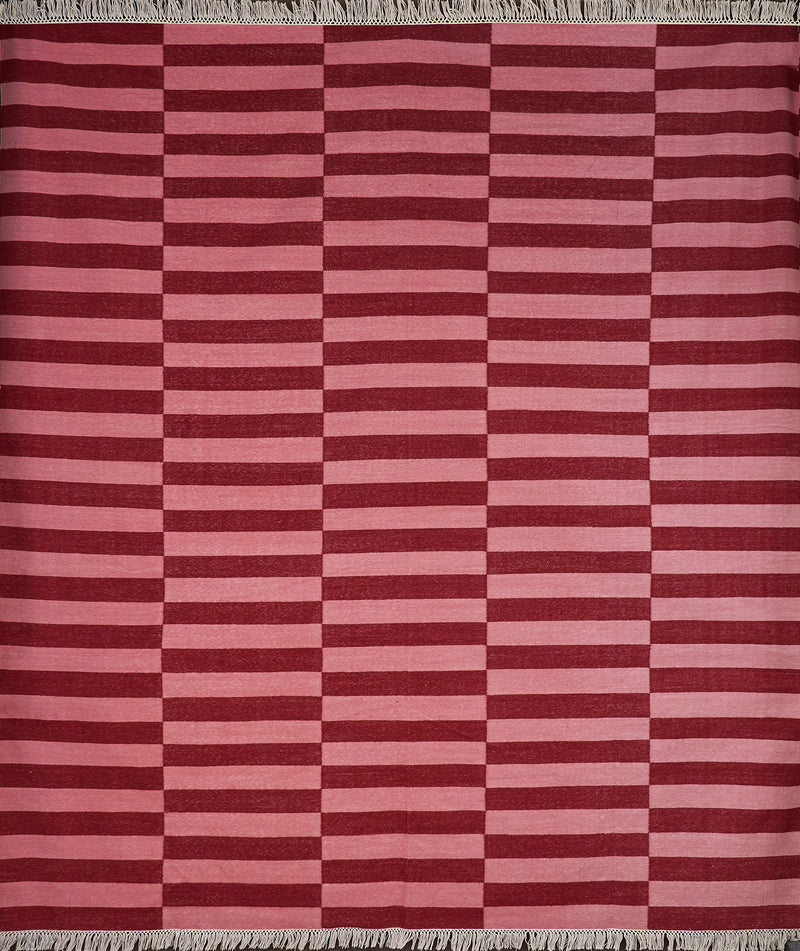 Rugs Pink and Red Rectangular Striped Rug Penny Morrison