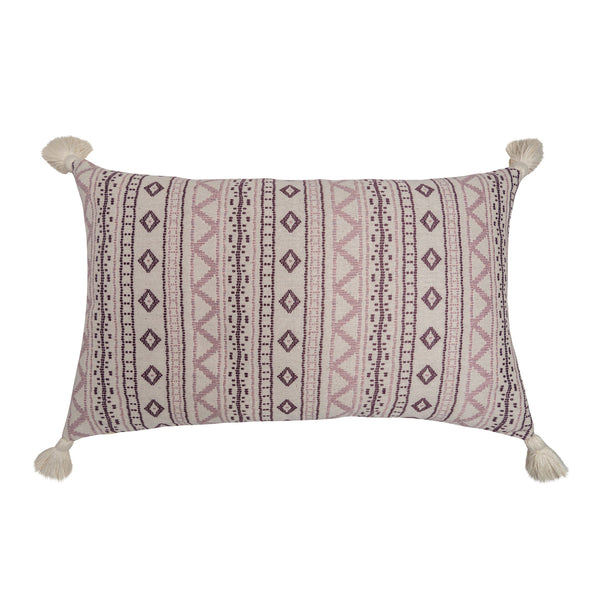 Cushions Andean Vertical Lilac Cushion with White Tassels Penny Morrison accessory, COLOUR_PINK, cushion, geometric, linen, lines, long, neutral, PATTERN_GEOMETRIC, PATTERN_STRIPES, pillow, pink, plain, purple, rectangle, simple, soft, stripes, tassels