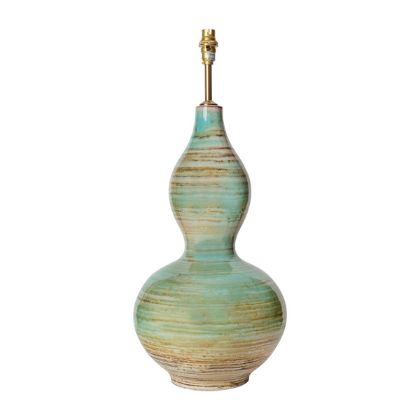 Lamps Aqua Double Gourd Ceramic Lamp Base Penny Morrison AQUA, BASE STYLE_DOUBLE GOURD, CERAMIC, COLOUR_BLUE, COLOUR_GREEN, CURVY, LAMP BASE, LAMPS, LIGHTING, PATTERNED, STATEMENT, TURQUOISE, UNIQUE