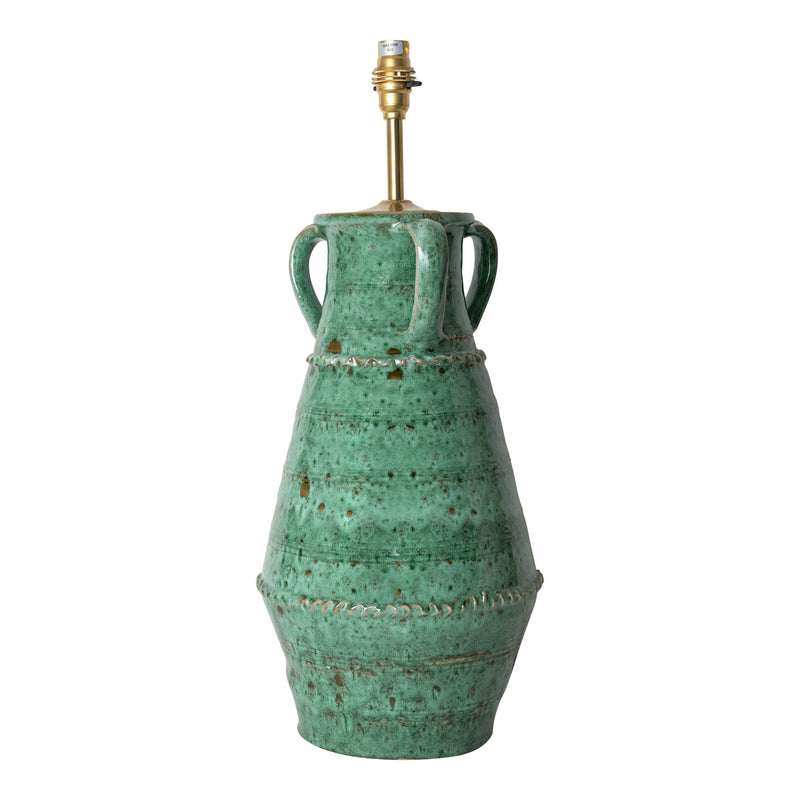Lamps Aqua Ribbed Vase with Handles Ceramic Lamp Base Penny Morrison AQUA, BASE STYLE_RIBBED VASE, BLUES, CALM, CERAMIC, COASTAL, COLOUR_GREEN, COLOURFUL, GREENS, HOME, LAMP, LAMP BASE, LAMPS, LIGHTING, MEDITERRANEAN, SEA BLUE, UNIQUE