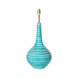 Lamps Aqua Spiral Teardrop Ceramic Lamp Base Penny Morrison AQUA, BASE STYLE_TEARDROP, BOLD, CERAMIC, COLOUR_BLUE, COLOURFUL, CURVY, GEOMETRIC, LAMP BASE, LAMPS, LIGHTING, PATTERN, PATTERNED, ROUND, SPIRAL, STATEMENT, STRIPES, TURQUOISE, UNIQUE