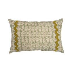 Cushions Ashok Green Cushion with Olive Green Wavy Trim Penny Morrison accessory, braiding, COLOUR_GREEN, cushion, detail, floral, green, linen, long, pale green, pattern, PATTERN_FLORAL, pillow, quirky, rectangle, soft, squiggle, statement, trim, unique, white