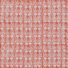 Fabrics Ashok Orange on Natural Penny Morrison BEIGE, BLOCK PRINT, COLOUR_ORANGE, CREAM, DESIGNER_PENNY MORRISON, flower, leaf, PATTERN_FLORAL, repeated, SIMPLE, small, TAUPE, VERTICAL, VINES