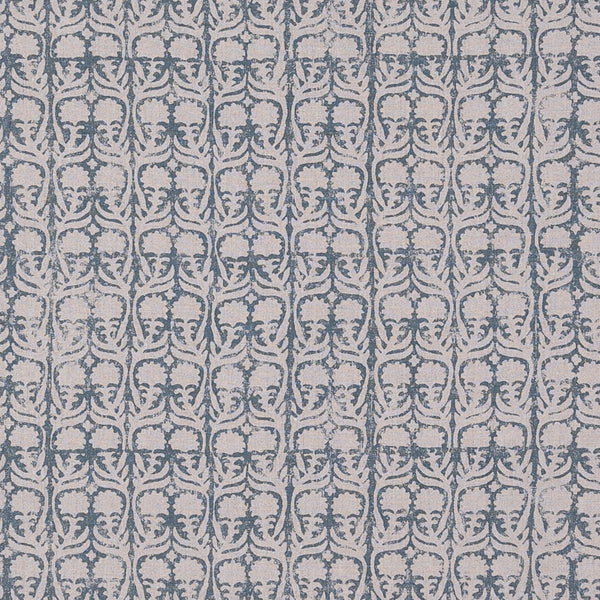 Fabrics Ashok Petrol/Natural Penny Morrison BLOCK PRINT, COLOUR_BLUE, CREAM, DARK, DESIGNER_PENNY MORRISON, flower, leaf, PASTEL, PATTERN_FLORAL, repeated, SIMPLE, small, TAUPE, VERTICAL, VINES