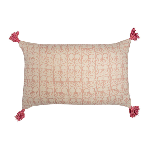 Cushions Ashok Pink Cushion with Pink Tassels Penny Morrison accessory, COLOUR_PINK, cushion, dusty, floral, linen, long, pale, pattern, PATTERN_FLORAL, pillow, pink, pretty, rectangle, simple, soft, tassels, white