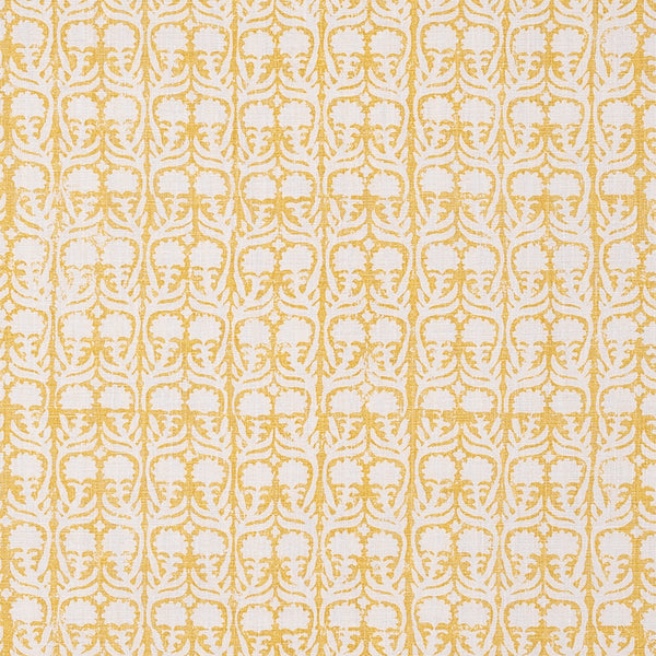 Fabrics Ashok Yellow Penny Morrison BLOCK PRINT, COLOUR_YELLOW, DESIGNER_PENNY MORRISON, flower, leaf, PASTEL, PATTERN_FLORAL, repeated, SIMPLE, small, TAUPE, VERTICAL, VINES