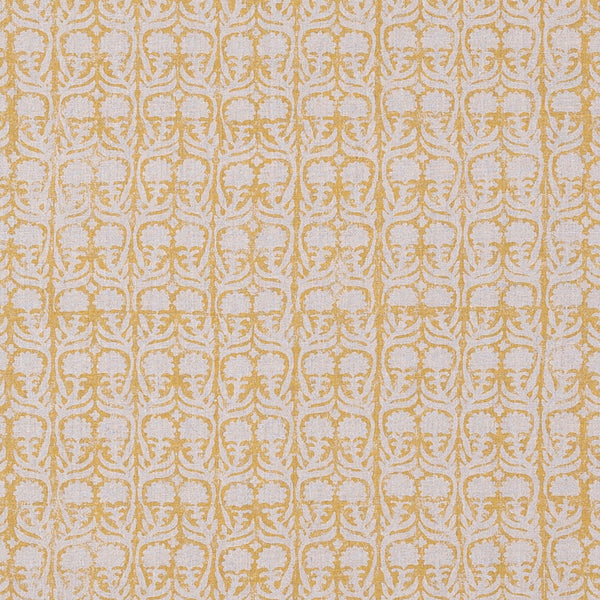 Fabrics Ashok Yellow/Natural Penny Morrison BLOCK PRINT, COLOUR_YELLOW, DESIGNER_PENNY MORRISON, flower, leaf, PASTEL, PATTERN_FLORAL, repeated, SIMPLE, small, TAUPE, VERTICAL, VINES