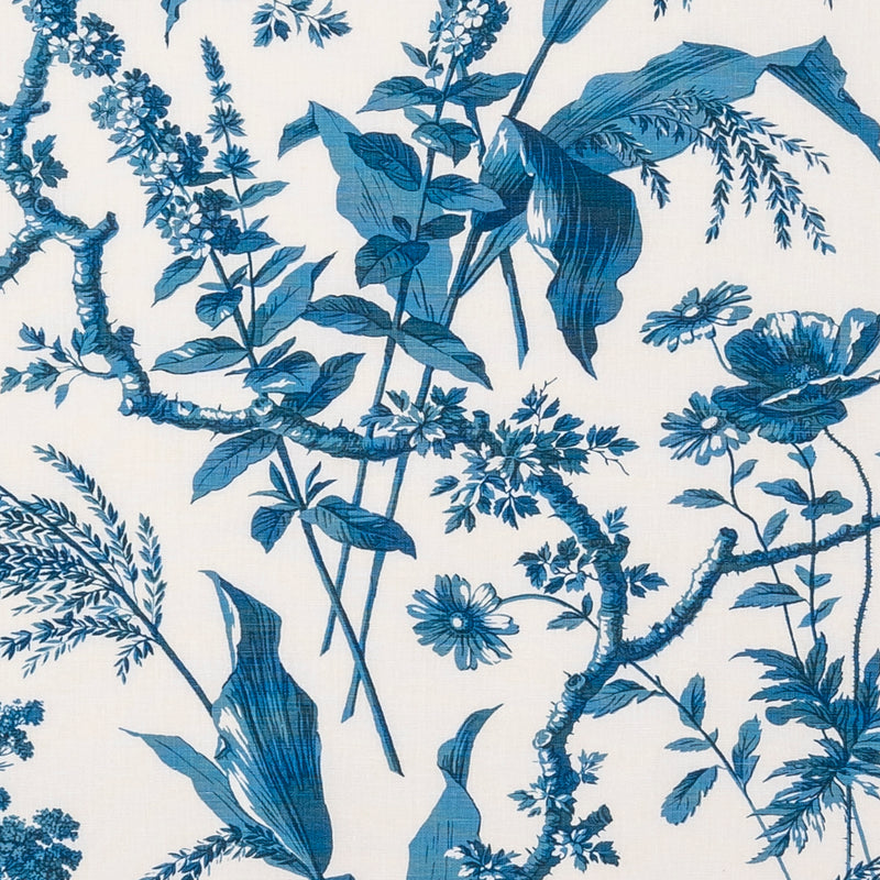 Fabrics Aspa Petrol Blue Penny Morrison COLOUR_BLUE, DESIGNER_SARAH VANRENEN, leaf, NATURAL, NATURE, PATTERN_FLORAL, PLANTS, TRADITIONAL