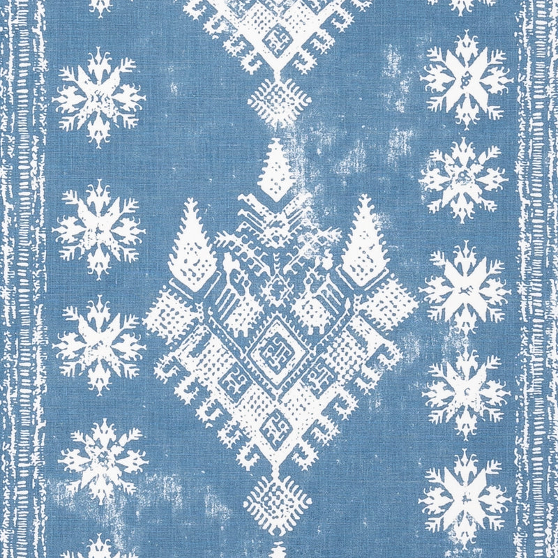 Fabrics Athena Blue Penny Morrison COLOUR_BLUE, DESIGNER_PENNY MORRISON, DIAMONDS, PATTERN_ABSTRACT, PATTERN_GEOMETRIC, PATTERN_STRIPES, RUSTIC, VINTAGE, WORN