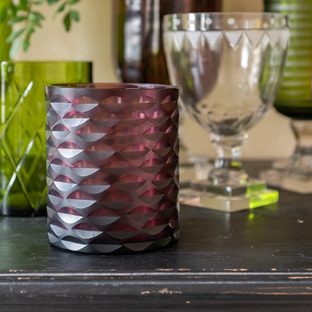 Hurricane Lamp Aubergine Cylinder Glass Hurricane Lamp Penny Morrison Candle Holder, COLOUR_PINK, COLOUR_PURPLE, Cylinder, Dining, Geometric, Glass, Hurricane Lamp, Patterned, Purple, Set Up, Small, Table Accessory, Vase