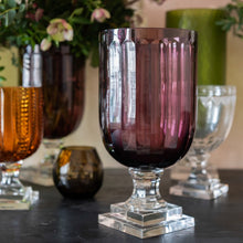 Hurricane Lamp Aubergine Thumbcut Glass Hurricane Lamp Penny Morrison Candle Holder, COLOUR_PINK, COLOUR_PURPLE, Dining, Glass, Goblet, Hurricane Lamp, Purple, Set Up, Table Accessory, Thumbcut, Vase