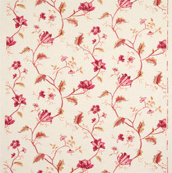 Fabrics Bengal Pink/Raspberry Penny Morrison COLOUR_BROWN, COLOUR_RED, DESIGNER_PENNY MORRISON, detail, flower, intricate, leaf, MEDIEVAL, PATTERN_FLORAL, VINES