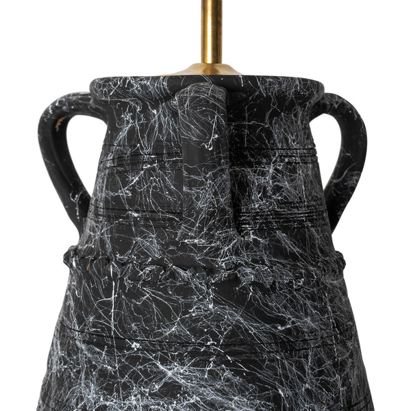 Penny-Morrison-Black-Marbled-Ribbed-Vase-with-Handles-Ceramic-Lamp-Base-Quirky-Unique-Statement-Hand-Painted-Bespoke-Artisanal