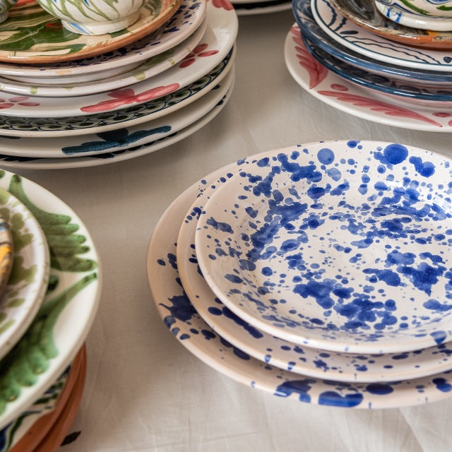 Penny-Morrison-Blue-Speckled-Ceramic-Large-Plate-Unique-Hand-Painted-Glazed-paint-splatter-quirky-individual-main-course-plate