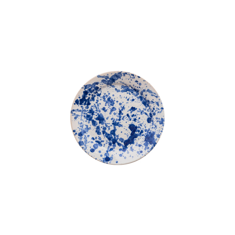 Tableware Blue Speckled Ceramic Small Plate Penny Morrison blue, ceramics, COLOUR_BLUE, crockery, dining, large, main course, paint, PATTERN_SPECKLED, place setting, plate, pottery, sets, speckled, splatter, spots, Tableware, TYPE_PLATES, white