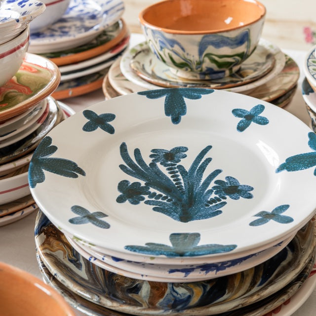 Tableware Blue Summer Flower Ceramic Large Plate Penny Morrison ceramics, COLOUR_BLUE, crockery, dining, fancy, floral, flower, motif, PATTERN_FLORAL, pink, place setting, plate, pottery, pretty, sets, side plate, small, Tableware