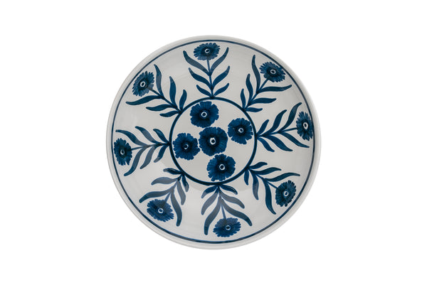 Tableware Blue Summer Flower Ceramic Shallow Bowl Penny Morrison blue, bowl, ceramics, COLOUR_BLUE, crockery, dessert, dining, fancy, flat, floral, flower, medium, motif, PATTERN_FLORAL, place setting, pottery, pretty, pudding, sets, Tableware, TYPE_BOWLS